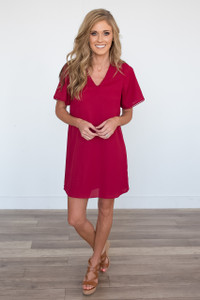 Short Sleeve Lace Up Back Detail Dress - Crimson
