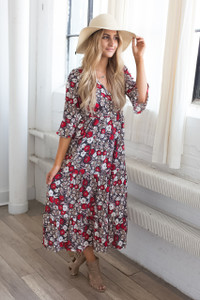 Floral Print Bell Sleeve Maxi Dress - Red Multi