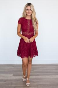 BB Dakota: Calvin Scalloped Lace Dress - Garnet