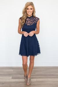 BB Dakota: Becky Lace Embroidered Dress - Navy