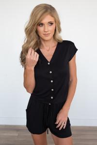 Short Sleeve Button Down Romper - Black