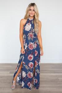 Blue Lagoon Floral Halter Neck Maxi Dress - Denim