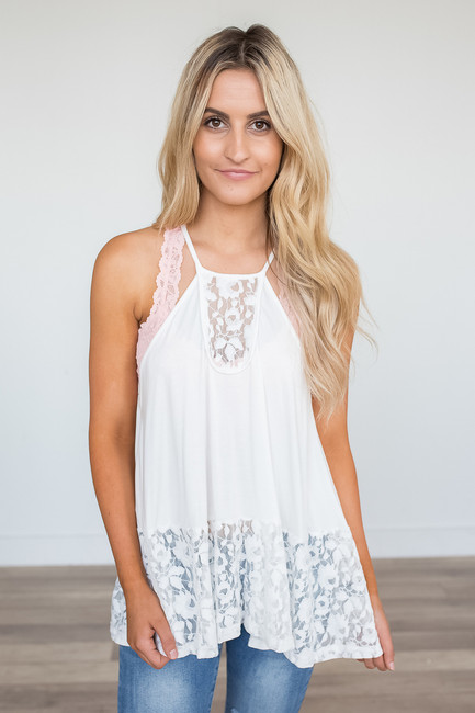 High Neck Lace Detail Cami - Ivory