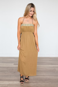 Criss Cross Back Maxi Dress - Irish Gold - FINAL SALE