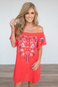 Off the Shoulder Embroidered Dress - Bright Coral
