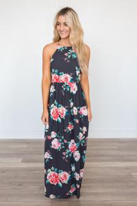 Everly Garden of Roses Maxi Dress - Onyx