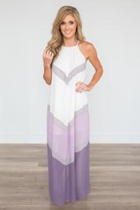 High Neck Colorblock Maxi Dress - Purple/Cream