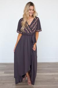 Wisteria Lane High Low Maxi Dress - Charcoal