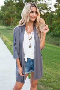 Everly French Terry Cardigan - Graphite