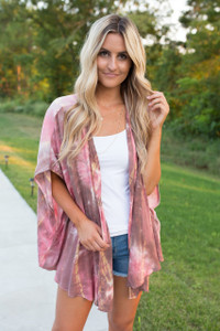 Free Spirit Tie Dye Kimono - Rose/Brown - FINAL SALE