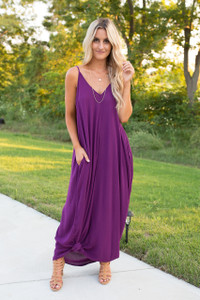 Mila Solid Pocket Maxi Dress - Plum