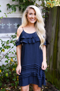 Cold Shoulder Ruffle Dress - Deep Navy