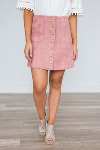 5th Avenue Button Suede Skirt - Dusty Pink