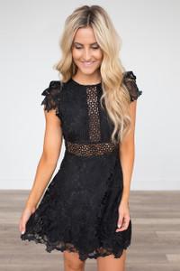 BB Dakota: Calvin Scalloped Lace Dress - Black - FINAL SALE