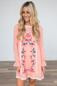 Long Sleeve Embroidered Dress - Melon