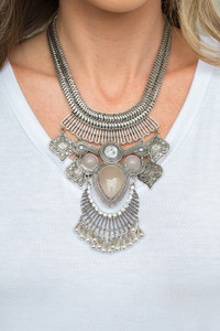 Inca Warrior Statement Necklace - Silver