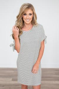 Tie Sleeve Striped Dress - White/Black - FINAL SALE