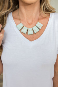 Marble Square Statement Necklace - Mint
