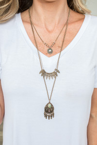 Trevi Fountain Layered Necklace - Bronze