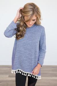Crochet Detail Tassel Hoodie - Heather Blue - FINAL SALE