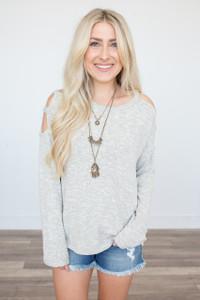 Cutout Cold Shoulder Sweater - Heather Cream