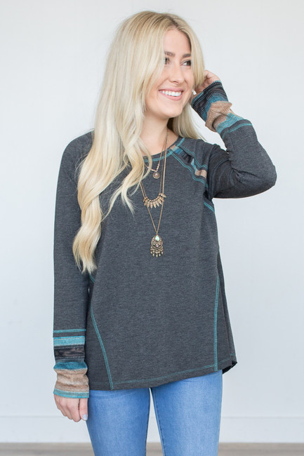 Raglan Ombre Detail Top - Charcoal - FINAL SALE