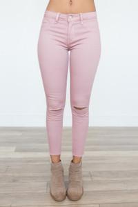 Color Me Happy Knee Slit Jeans – Mauve - FINAL SALE