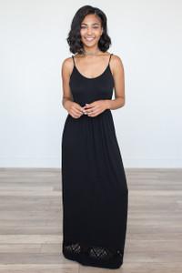 Spaghetti Strap Cutout Maxi Dress – Black