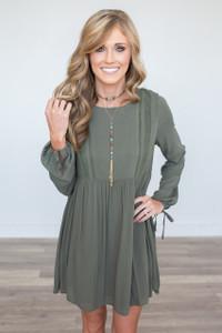 Everly Long Sleeve Babydoll Dress – Olive