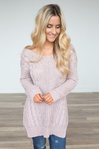Cross Back Cable Knit Sweater - Mauve