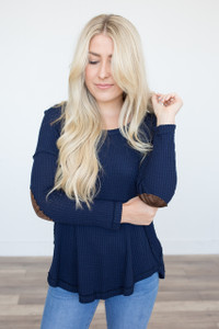 Waffle Knit Elbow Patch Top - Navy - FINAL SALE