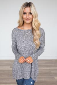 High Low Long Sleeve Tunic - Heather Black
