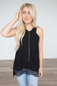 Halter Neck Crochet Hem Blouse - Black