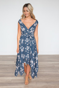 Floral Asymmetrical Wrap Dress - Dusty Blue