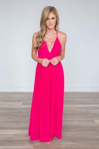 Pleated Maxi Dress - Strawberry Pink - FINAL SALE