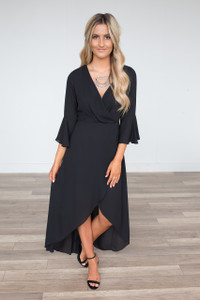 Everly High Low Bell Sleeve Maxi - Black