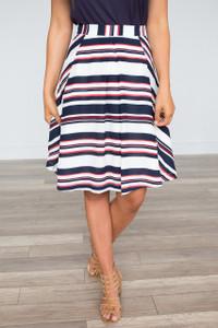 Independence Striped Midi Skirt - Multi  - FINAL SALE