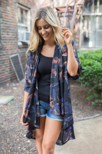 Everly Floral Print Kimono - Black Multi - FINAL SALE