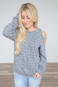 Cold Shoulder Sweater - Heather Charcoal