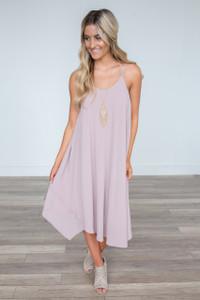 Double Strap Layered Midi Dress - Mauve