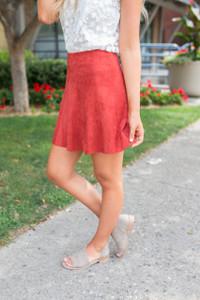 BB Dakota Aileen Suede Skirt - Tuscan Red