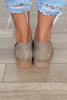 Harley Open Toe Distressed Flat - Taupe
