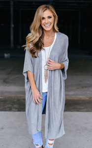 Cage Back Solid Cardigan - Heather Grey