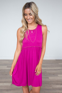 Crochet Trim Solid Dress - Deep Fuchsia