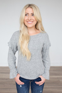 Everly Ruffle Detail Top - Heather Grey