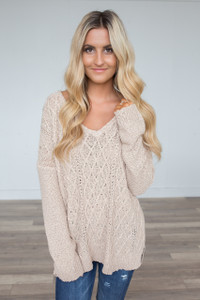 Autumn Night Cable Knit Sweater - Beige