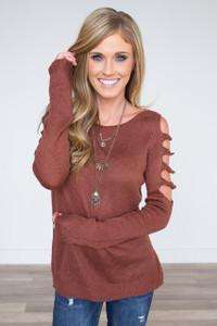 Long Sleeve Cutout Sleeve Sweater - Brick
