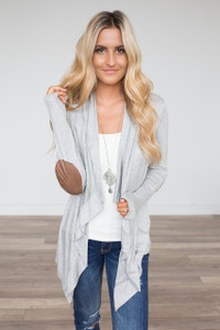 Open Front Elbow Patch Cardigan - Heather Grey