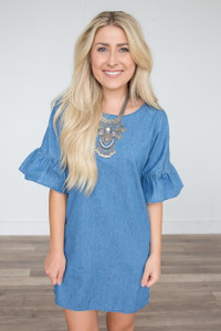Denim Ruffle Sleeve Dress - Medium Wash
