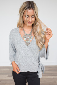 Everly Wrap Front Tie Top - Heather Grey